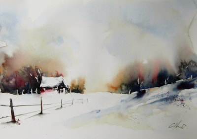 The Red Barn, watercolour by Graham Kemp