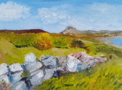 View over Plas yn Rhiw and Hells Mouth - Oil