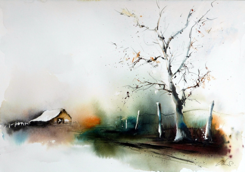 Walk with me, watercolour by Graham Kemp