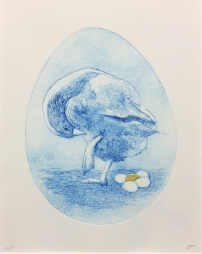 Was that me blue etching by Margaret Mallows
