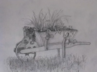 Wheelbarrow of flowers-graphite