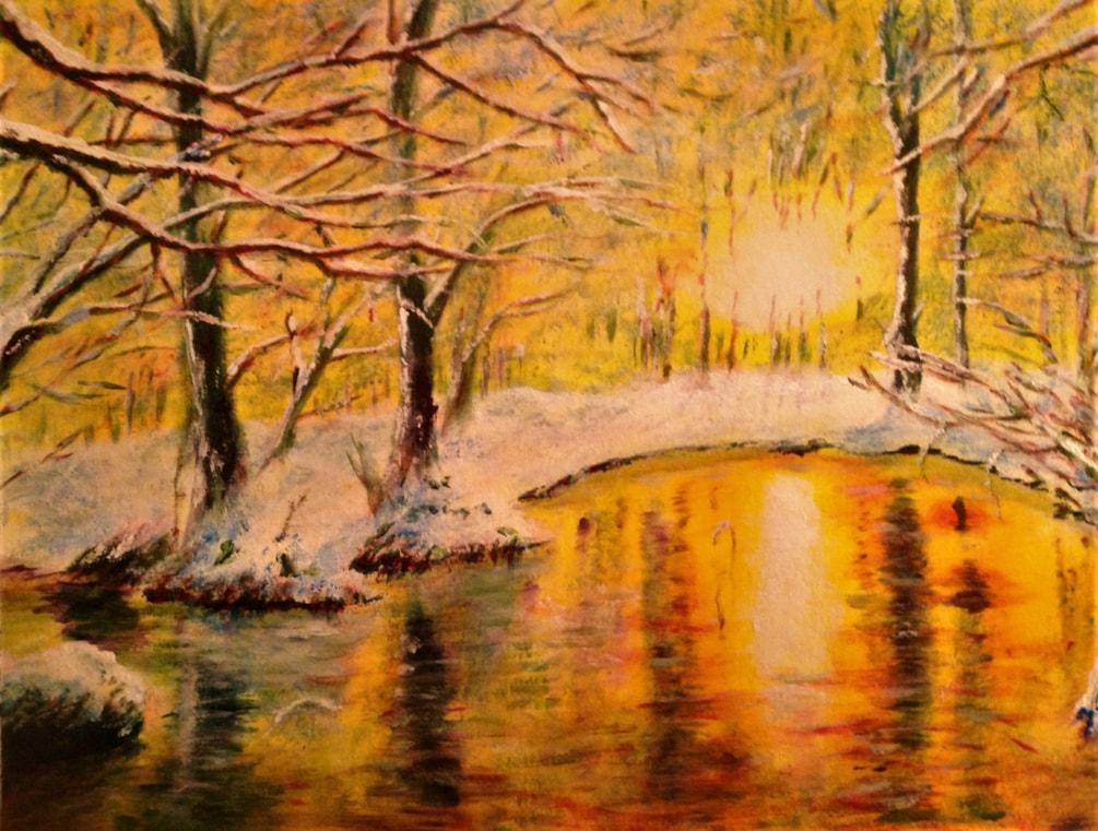 Winter woods sun 16x12 Ac on Bam £290 17 12 19