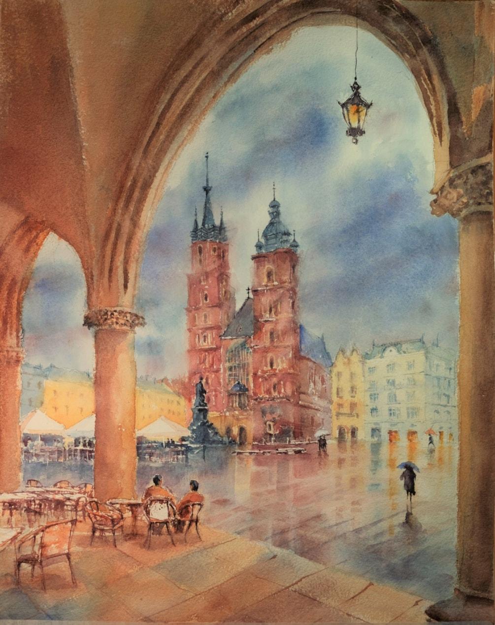 _DSF0186 Market Square after rain Krakow