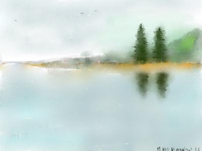 Lough Meelagh in mist.