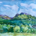 Plein Air tiday - Hen cloud and the Roaches, conte and watercolour on A2