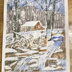 Winter scene, Back painting first for a while