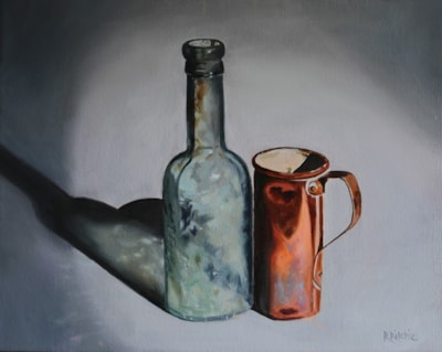 Aged Glass And Copper Pot