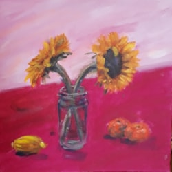 Still life - sunflowers and fruit