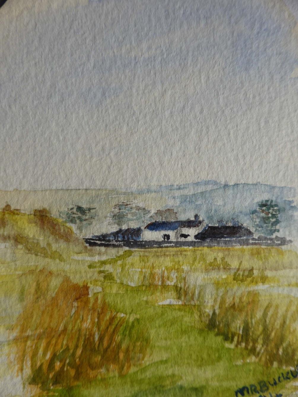 "Bryn Hall Wales. watercolour 3x4"" En plein air"