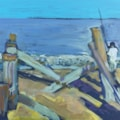 """Fishing from the beach near the old pier stacks Great Yarmouth, plein air acrylic on 10x8"""" board"""