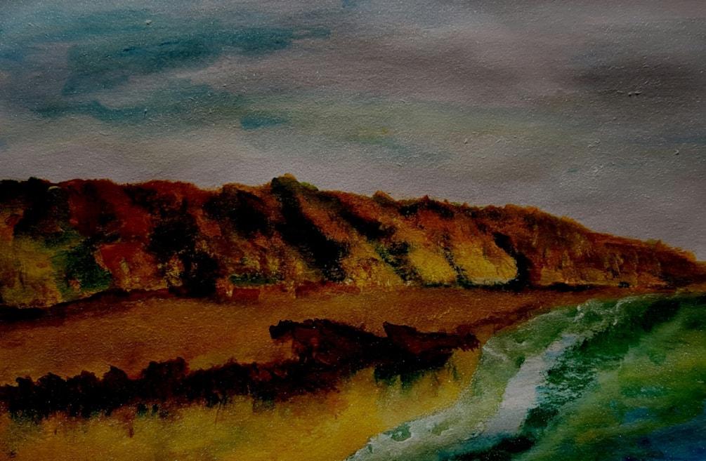 Evening cliff scene