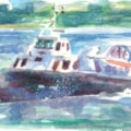Hovercraft leaving Isle of Wight