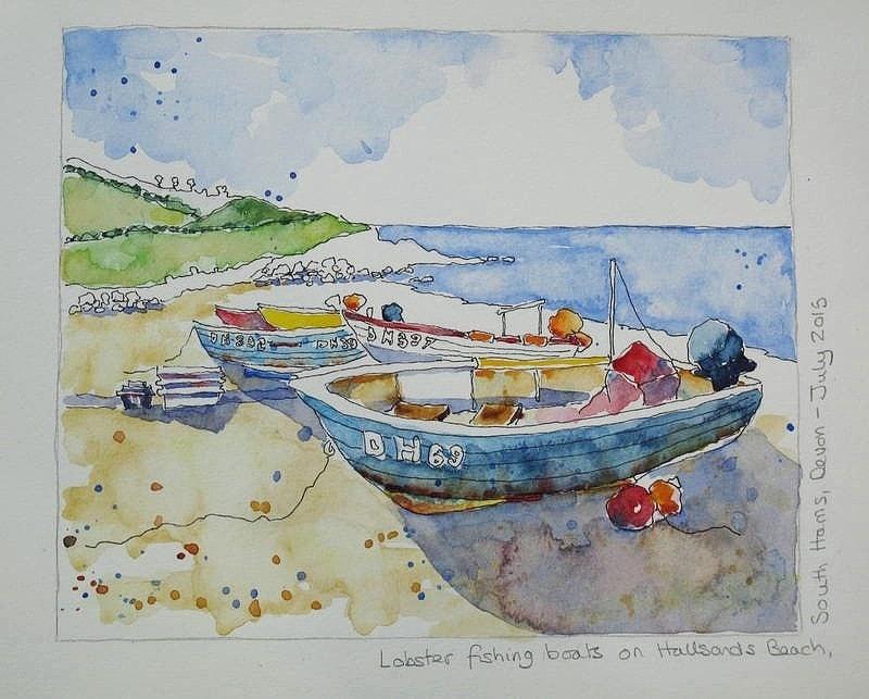 Lobster Boats on Hallsands Beach, Devon