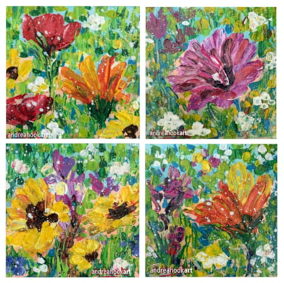 Four mini wildflower palette-knife paintings