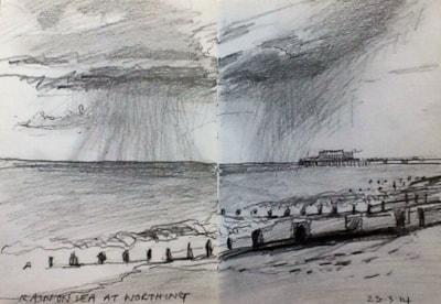 Rain on Sea at Worthing