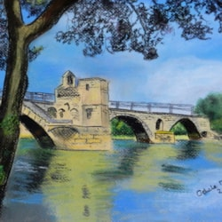 Bridge Over Troubled Water - Pastel and Acrylic Ink.