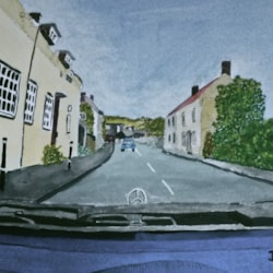 Much Wenlock from car camera.
