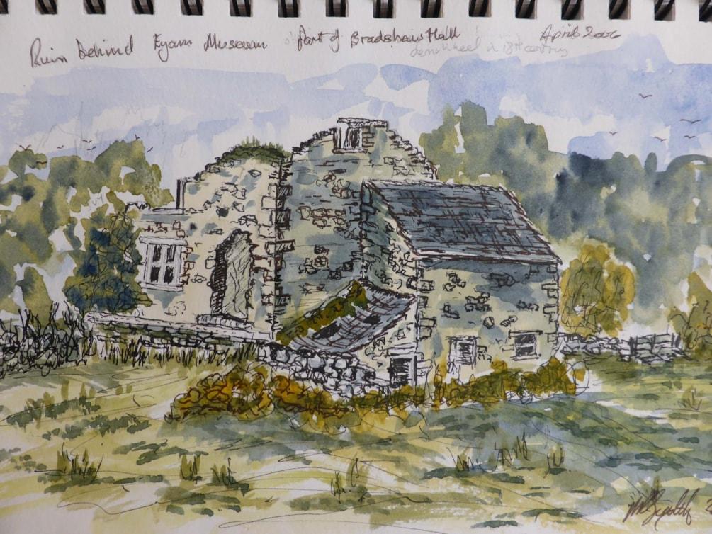 Ruins of Bradshaw Hall Eyam sketch