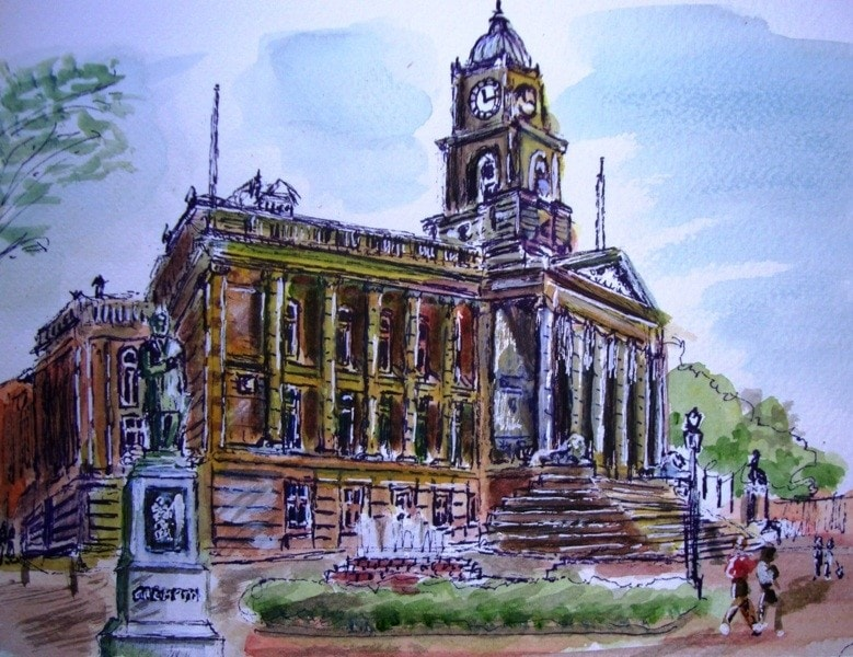 The town hall square, Bolton.....