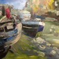 Deepwater on the Thames near Kew Bridge, oil on 60x40cm board