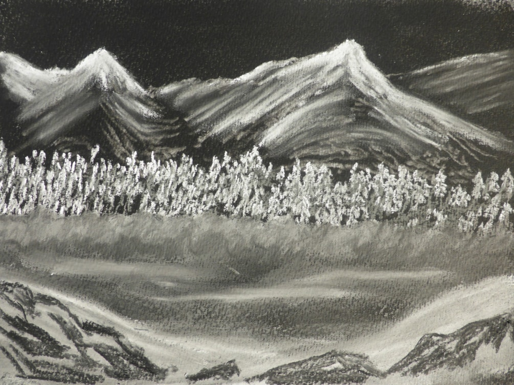 Cold Land. black and white pastels on watercolour paper.
