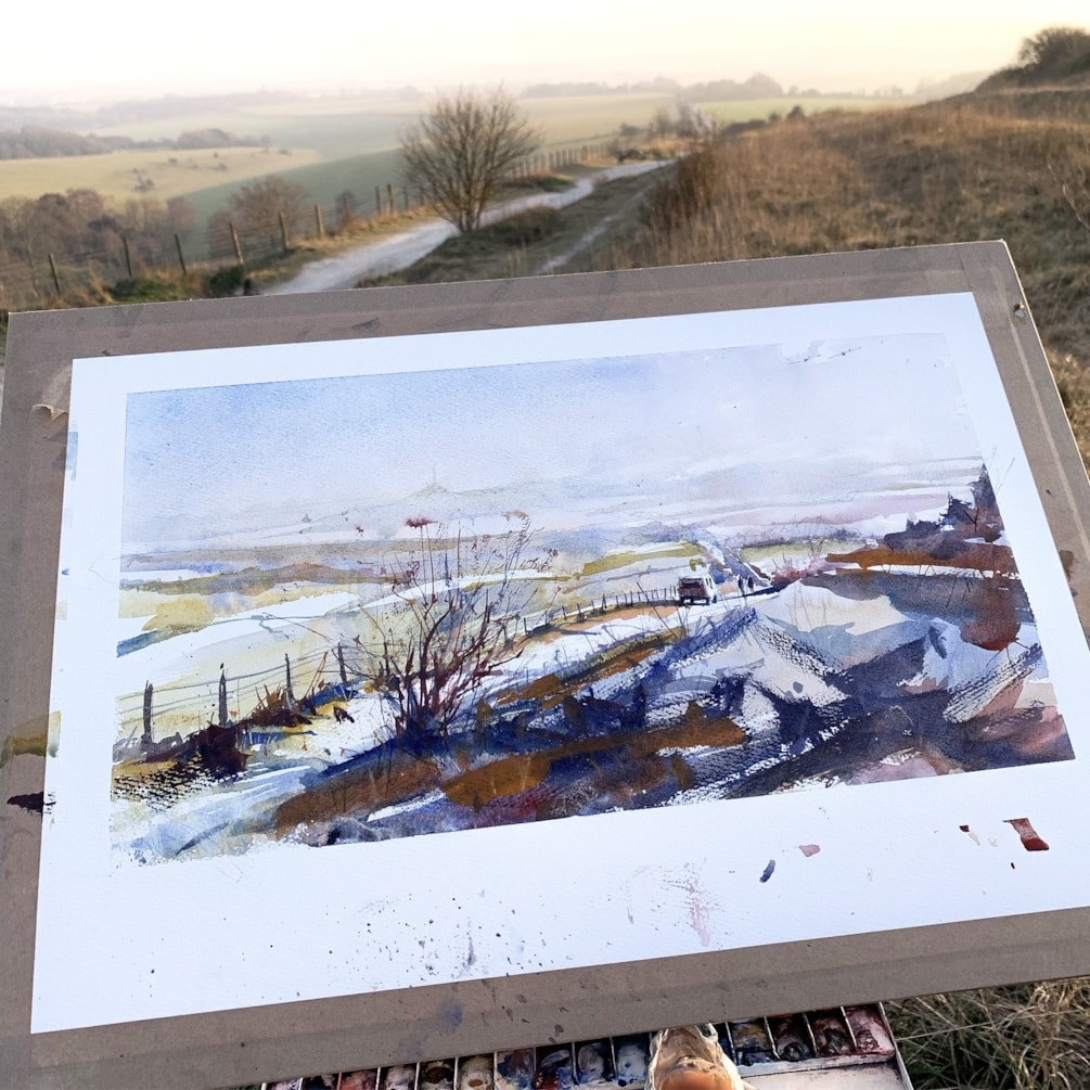 The Trundle, Looking towards Chichester Cathedral. Plein air watercolour