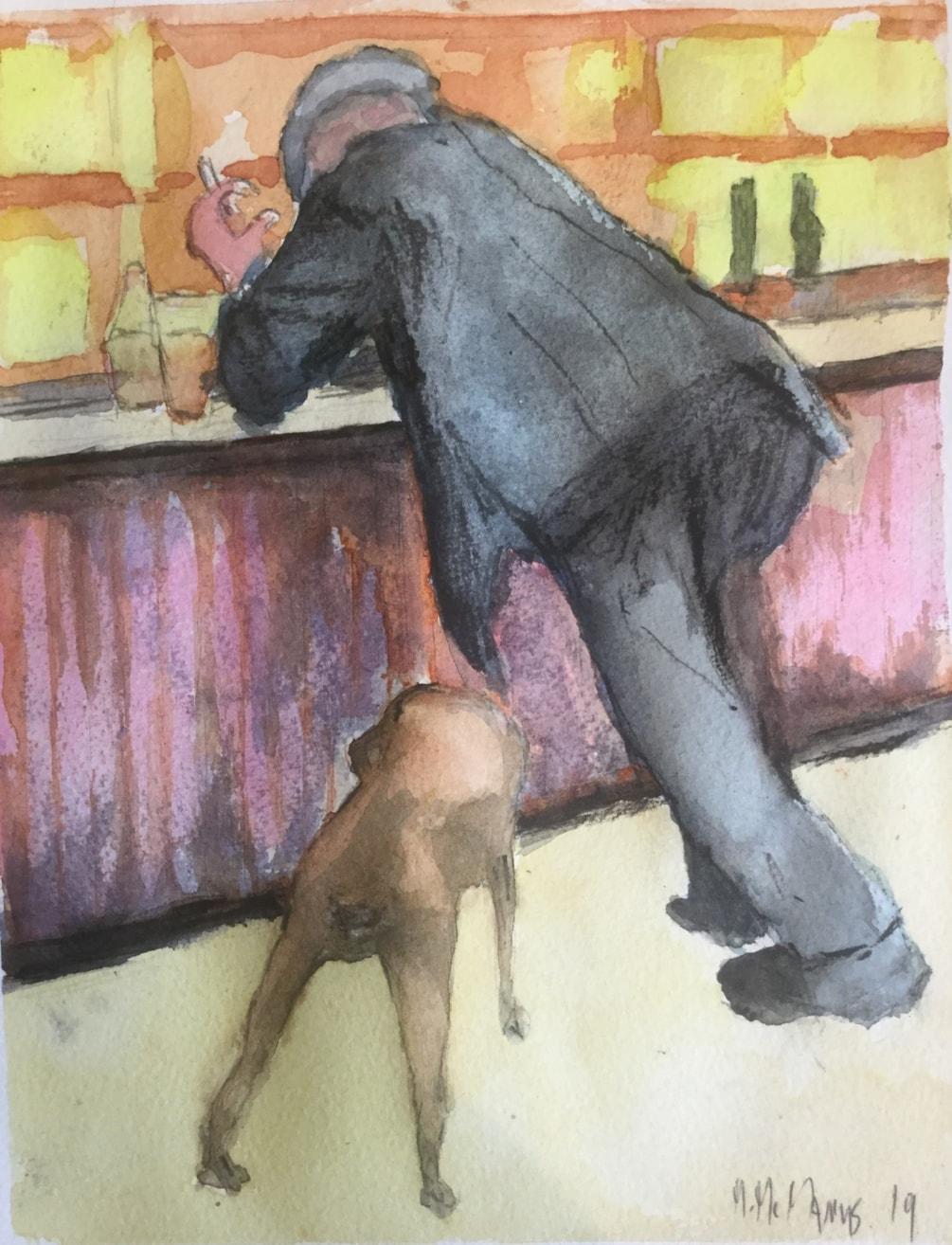 'Smoking man at bar with dog'.