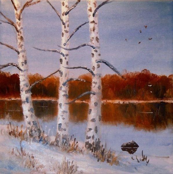 Silver Birches in the Snow, after Gwen Scott