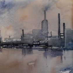 abstract industrial waterfront  landscape 1