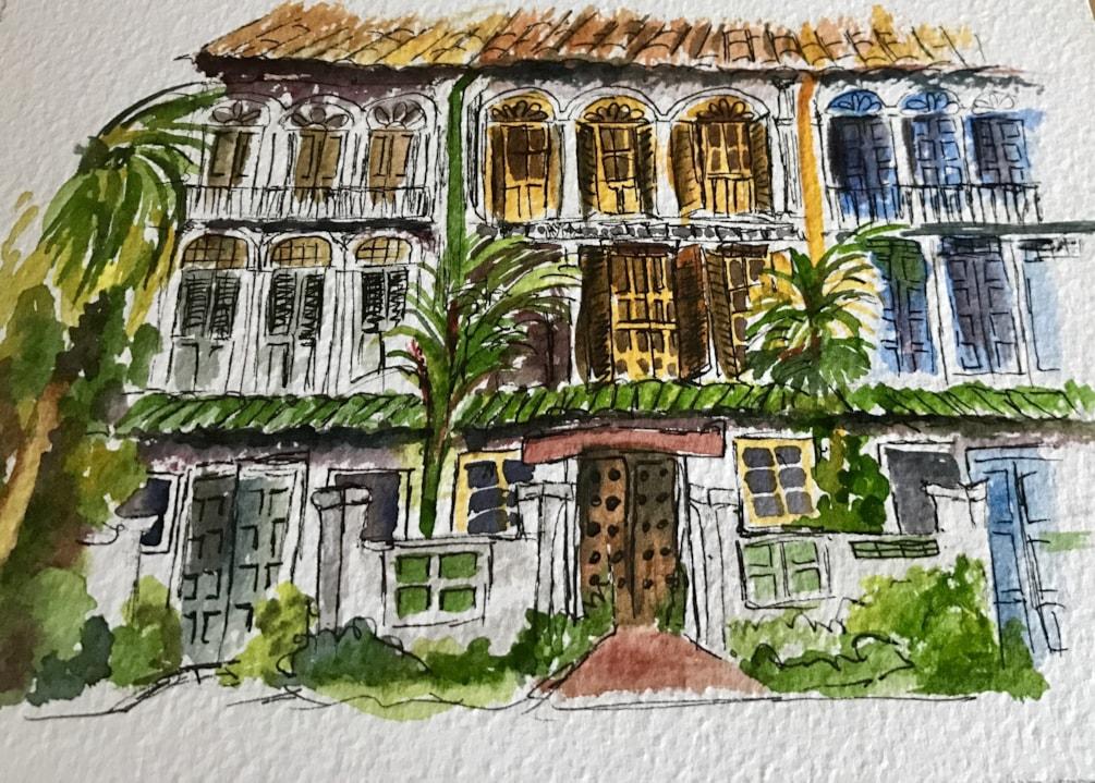Singapore sketch - Shop houses