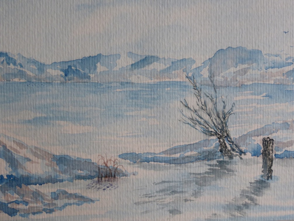 "Solitude. Watercolour 8x5.5"" En plien air"
