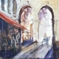 Cafe scene watercolour 30 x 30cm