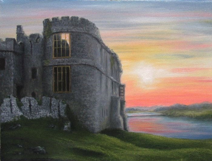 Carew Castle Pembrokeshire, the late evening sun was added for effect.