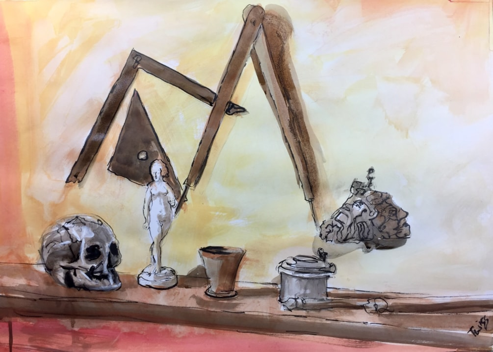 Still life in Rembrandts studio, ink on A2