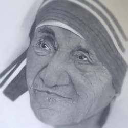 Pencil portrait of Mother Teresa
