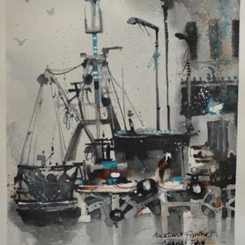 amanda brett watercolour artist auckland fishing