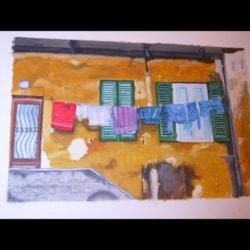 Laundry in back street of Barga Italy