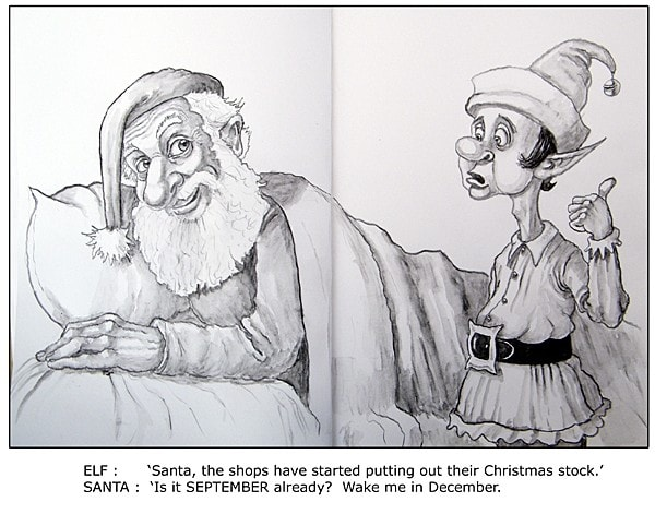 Early Christmas-Sketchbook-Water soluble pencils