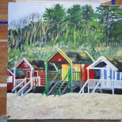 3 beach huts Wells next to the sea