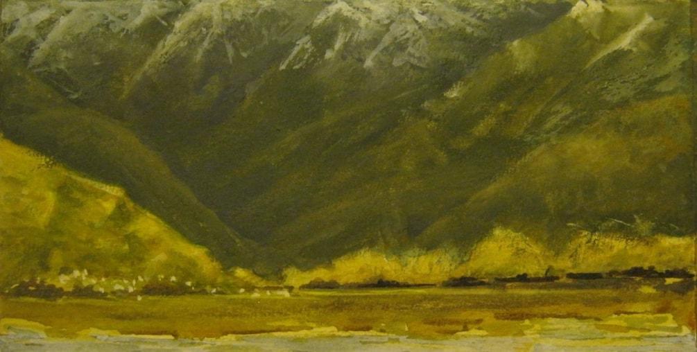 """A valley of shadow""  Mount Aspiring National Park  W/c & gouache"