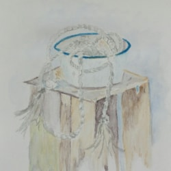 """""""Rope trick"""" from april 2018 LP issue  ...amanda cooper still life watercolour  exercise"""
