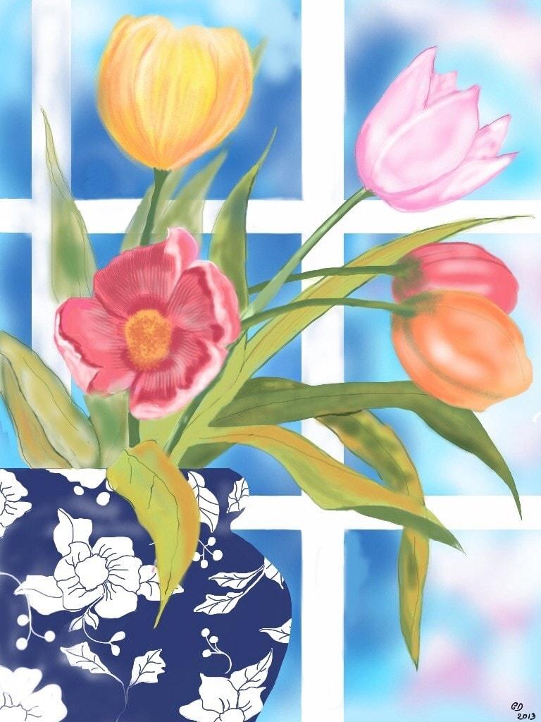 Flowers in the window - iPad Art