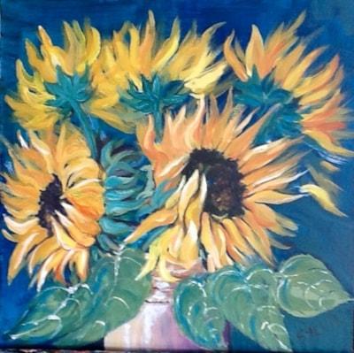 Sunflowers ,finished, varnished . Onwards and upwards.