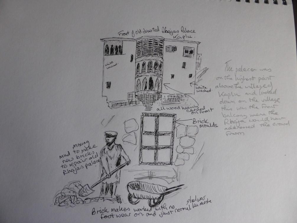 Sketch. Old Rhajas Palace and brick makers. Kaplu