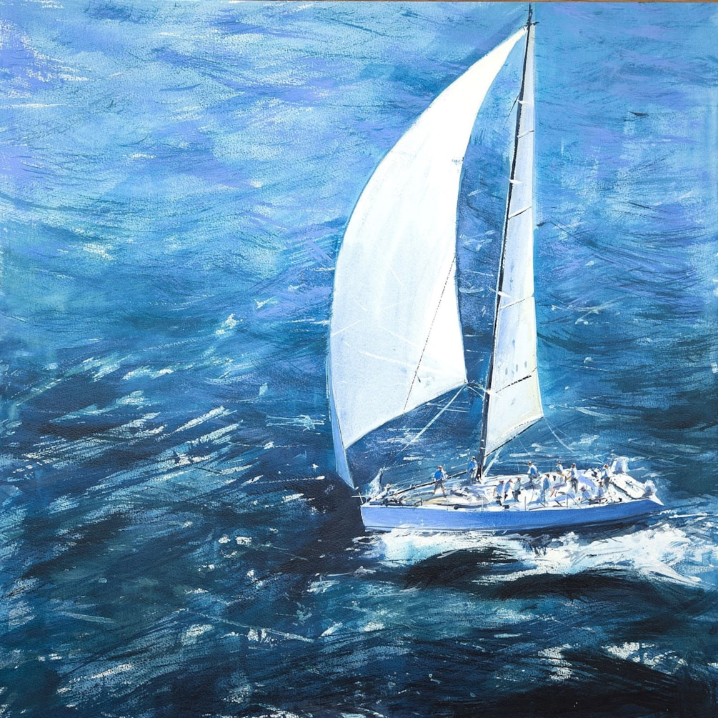Yacht at sea, acrylic 24 x 24 inches