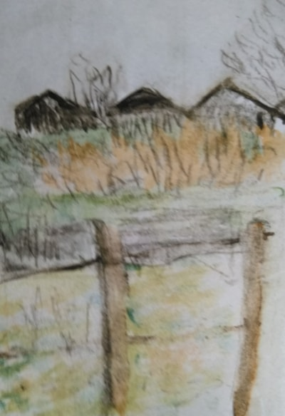 one sketch a day. The old garages.