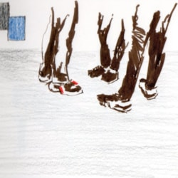 Sketch of my trainers with others at Tate Modern