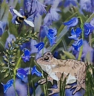 In amongst the bluebells.