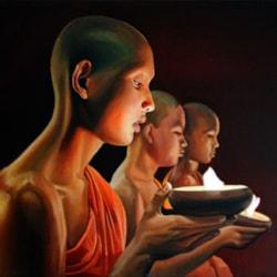 Buddhist Monks Kneeling