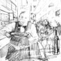 Sketchbook sketch for Barcelona bar painting